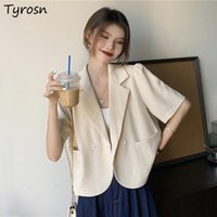 Women's Suits & Blazers Short Sleeve Women Solid Summer Fashion All-match Loose Chic Office Lady Leisure Ulzzang Streetwear Temperament Ins
