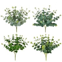 Artificial Fake Plants Money Eucalyptus Bouquet For Home Decor Flower Arrangement Green Faux Plant Bunch Desk Decorative Flowers & Wreaths