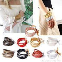 Charm Bracelets 5Pc Bohemia Glitter Jelly Bangle Bracelet Set Bowtie PU Leather Hoop Powder Lining Fashion Lightweight My18 21