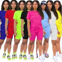 Summer Women Tracksuits Short Sleeve T-shirt Yoga Shorts Solid Color 2 Piece Jogger Dress Sets Outfits Gym Clothes Plus Size 836