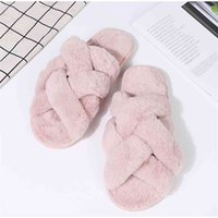 Winter Warm Women House Slippers Plush Flat Shoes Faux Fur Ladies Indoor Floor Slides Home Slip On Furry Female Flip Flops Soft 210915
