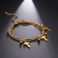 Skyrim Fashion Cross Beads Double Layers Adjustable Bracelets For Women Stainless Steel Gold Color Charm Bracelet Jewelry 2021