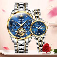 له هداياه الفاخرة زوجين الساعات الرجال الرجال الأوتوماتيكية ميكانيكية الياقوت الكريستال ساعة اليد في عيد الحب المعصم