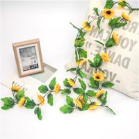 18-Head Artificial Sunflower Wreath Simulation Vine Wall-Mounted Plastic Flower Rattan Home Wedding Party Decoration Decorative Flowers & Wr