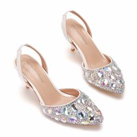 Blingbling Crystals Bridal Wedding Shoe 2021 Colored Diamond Celebrity Gala Oscar Inspired Formal High Heels 7m Sparkle Prom Shoes Glitz Bridesmaid Wear 33-43