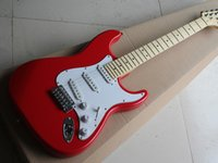 Electric guitar three single pickup red body white guard maple fingerboard