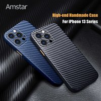 Amstar High-end Leather Carbon Fiber Pattern Phone Case for iPhone 13 Pro Max Camera Wrapped Handmade Phone 13 Mini Cover Case H1009