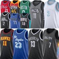 Stitched Kevin 7 Durant James 13 Harden Basketball Jerseys Kyrie 11 Men Irving 72 Biggie Blake 2 Griffin City Black Earned Edition Light Blue Joe 12 Harris Jersey