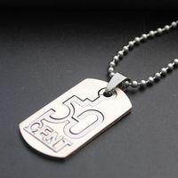 선물 스테인레스 스틸 디지털 50 센트 목걸이 더블 레이어 중국어 번호 분리 가능한 영어 알파벳 이니셜 달러 기호 펜던트 목걸이