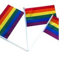 Rainbow Gay Pride Stick флаг с флагштом 5x8 дюймов рука флагом, размахивая баннером Руководства с использованием золота топ Rainbow Gay Pride Flag 1394 V2