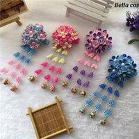 Party Masks Custom Color DIY Handmade Japanese Kimono Sakura Hair Accessories Wedding Flower Hairwear Headwear For Women Blue Purple Pin