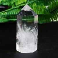 천연 크리스탈 칼럼 큰 짧은 짧은 두꺼운 흰색 육각 프리즘 장식 에너지 돌 feng shui degaussing 선물