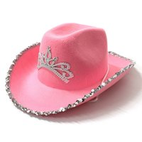 Pink Tiara Cowgirl Hat for Women Girls Wide Brim Fedora Cowboy Cap Western Style Holiday Cosplay Party Hats