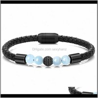 Jewelryblack Zircon Bead Bracelets For Men Braided Leather Bangle Stainless Steel Magnetic Clasp Qualified Natural Stone Bracelet Tennis Drop