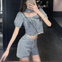 Frauen Sommer Kleidung Set Bluse Sexy Damen Buttons Denim Aushöhlen Hemd Vintage Jeans Chic Clubwear 2-teilig Hohe Qualität 210602
