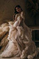 Long Elegant Evening Dress 2021 V-neck Champagne Tulle Maternity Dresses for Photo Shoot Robe Pregnant Women Fomral Gowns