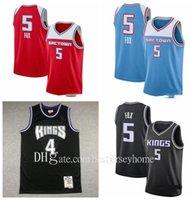 2021 novos jerseys de basquete homens vintange 5 de'aaron raposa jersey jersey jason 55 williams 4 webber jersey balck azul branco tamanho seco rápido s-2xl