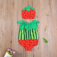 One-Pieces Summer 2 Pcs Toddler Bathing Suit Baby Girls Sleeveless Cute Watermelon Print Round Neck Swimsuit + Cap