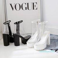Women's transparent boots 2021 new European and American wedges short high heel rain boots Martin boots1