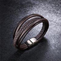Fashion Stainless Steel Charm Magnetic Black Men Bracelet Leather Genuine Braided Punk Rock Bangles Jewelry Accessories Friend Bracelets