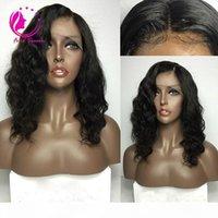 Doğal Orta Bölüm Uzun İnsan Saç İpek Üst Baz Tam Dantel Peruk Siyah Bakire Brezilyalı Remy Saç Siyah Kadınlar Için Babyhair Ile Dalgalı İpek Kap