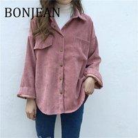 Bonjean Uzun Kollu Gömlek İlkbahar Ve Sonbahar Kadınlar Katı Batwing Kollu Bluz Sıcak Kadife Bluzlar Kadınlar BJ1907 Tops