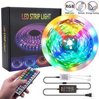 USA-lager LED-remsor 16.4FT 32.8FT 12V-5050 LAMP BEADS RGB 44 Keys Fjärrkontroll 150leds 300leds Lämpliga för utomhus, KTV, Vardagsrum, Sovrum Ekt.