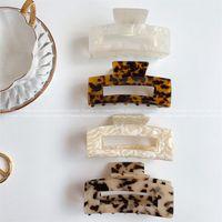 Graws d'acétate géométrique de haute qualité Big carré Crabs Clip Feuilles de grain léopard pour femmes accessoires pour cheveux 705 x2