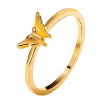 Women Retro Minimalist Gold Color Finger Rings Personality Butterfly Rings For Women Girl Jewelry Gift