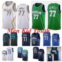 DallasMavericksErkekler Çocuklar 77 Luka Basketbol Formaları Doncic Jersey 2021 Beyaz Mavi Siyah Gençlik S-3XL