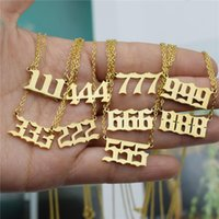 Pendant Necklaces 111 222 333 444 555 777 888 999 666 Devil Necklace Stainless Steel Angel Number Charms Minimalist Jewelry