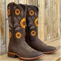 Boots Large Size 42 43 Women Shoes 2021 Fashion Embroider Female Booties Winter Sexy Womans Casual Knee High