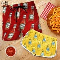 Pareja coincidente ketchup mostaza impresa pantalones cortos 3d mujeres para hombres cintura elástica verano de seco rápido de la playa de los hombres