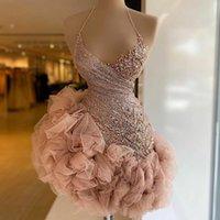 Dusty Pink Ruffles Short Cocktail Dresses Mini Prom Dress Beading Halter Lace Sequins Party Robes Vestido de Novia