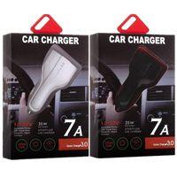 Chargeur de voiture de type C PD 3 ports USB Fast Charging rapide Adaptateur d'alimentation automatique 35W 7A Chargeurs de voiture pour iPad iPhone 8 x 12 13 Samsung S7 S8 Téléphone Android