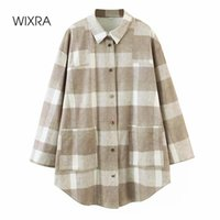 Women's Jackets Wixra Womens Plaid Suede Shirt Jacket Coat Ladies Pockets Thick Turn Down Collar Autumn Winter Female Outerwear