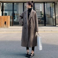 Women's Wool & Blends Blend Loose Coat Long Winter Cashmere Coffee Plaid Double-Breasted England Harajuku Quality Jacket