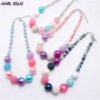 Verschiedene Farbe Baby Kid Chunky Halskette Großhandel Mode Bubblegume Perle Chunky Halskette Schmuck Für Kinder Gilrs 788 Y2