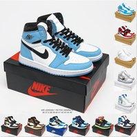 [مع صندوق] Air Jordan 1 4 x Off-White shoes Jordans  jumpman OG أحذية كرة السلة بارب الأعلى أعلى ow   نورث كارولينا الأزرق سبج الظل رمادي أسود أحمر اصبع القدم عارضة أحذية رياضية