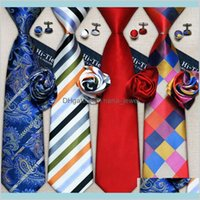 Boyun Kravat Aksesuarları Hızlı Erkek Toptan Klasik Tasarımcı Moda Kravat Seti Hanky Kol Düğmeleri İpek Bağları Dokuma Gravata İş Düğün