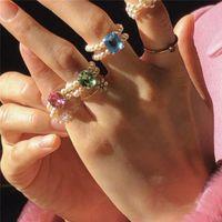 Мода блестящий красочный кристалл ручной работы плетеный имитация жемчужные кольца для женщин вечеринки свадебные украшения подарки