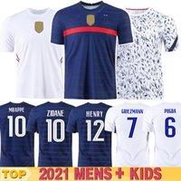 Euro 20 21 tasse Mbappe Grieuzmann France Jersey de football Pogba Giroud Kante Maillot de pied Equipe Maillots Chemise de football Uniformes LA 2021 100ème 100 ans Homme + Kit Kit