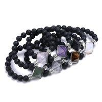 Beaded, Strands Healing Awl Natural Stone Bracelet Black Lava Beads Arom Essential Oil Diffuser Energy Reki Yoga Strand Jewelry
