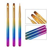 3 teile / satz Nail art Pinsel Liner Doting Acryl Builder Malerei Zeichnung Carving Pen Stift Gradient UV Gel Maniküre Werkzeug Kits