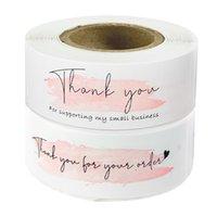 7.5 * 2.5cm 120pcs / rouleau Cadeau de vacances Papier recouvert d'emballage d'emballage d'étanchéité d'étanchéité d'étanchéité Impression rose coloré petite entreprise autocollant