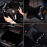 Car Seat Covers Colorful Rhinestones Cover Crystal Plush Universal Auto Cushion Headrest Waist Support Accessories