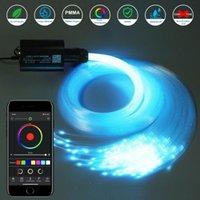 Interior&External Lights DC12V 16W RGB Car Roof Star Light LED Fiber Optic Starry Sky 2M 0.75mm End Glow 150-300Pcs Optical RF APP Control