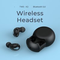 최신 TWS K2 쌍둥이 True 무선 블루투스 이어폰 V5.0 아이폰 7 Samsung Smartphone 용 마이크 충전 소켓이있는 스테레오 헤드셋