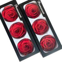 Floriddle Inmortality Rose Head Cabeza Real Flores Preservadas Flores San Valentín Decoración Rose en Caja Diámetro 6-7cm Rosas Q0826