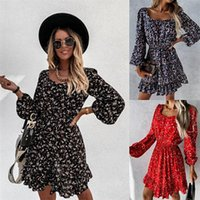 Casual Dresses 2021 Autumn Puff Long Sleeve Ruffle Dress Vintage Women Floral Print Party Elegant Square Collar Backless Mini